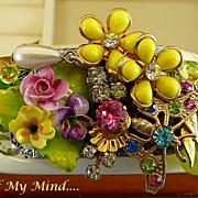 SOLD Timeless Corsage ~ Out of My Mind Collage Bracelet