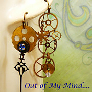 SOLD All Geared Up ~ Out of My Mind Asymmetrical Earrings