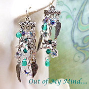 SOLD Flying Pigs ~ Out of My Mind Asymmetrical Earrings
