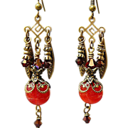 SOLD Candy Reds ~ Out of My Mind Earrings