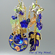 SOLD Vintage Gardens - Out of My Mind Asymmetrical Earrings