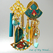 SOLD Cloisonne Gardens - Out of My Mind Asymmetrical Earrings