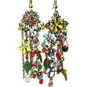 SOLD Heirloom Bouquet - Out of My Mind Asymmetrical Earrings