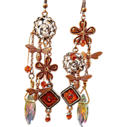 SOLD Copper Buzz - Out of My Mind Asymmetrical Earrings