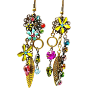 SOLD Spring Fling - Out of My Mind Asymmetrical Earrings