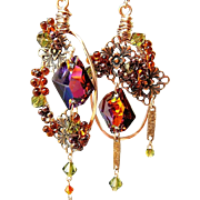 SOLD Copper Fire - Out of My Mind Asymmetrical Earrings