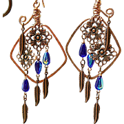 SOLD Copper Chimes - Out of My Mind Earrings
