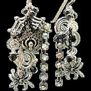 SOLD Spidey Splendor II - Out of My Mind Asymmetrical Earrings