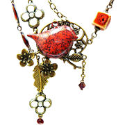 SOLD Red Bird Lane - Out of My Mind Necklace