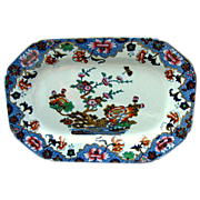 """Spode Tray or Teapot Stand, New Stone, """"Willis"""" Pattern,  Antique Chinoiserie, c 1825"""