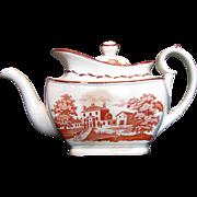 SALE English Teapot, Orange Bat Print,  Antique Staffordshire c 1820