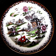 "Chinoiserie Plate, Bowers ""Pekin"" Pattern,  Antique 19th C English"