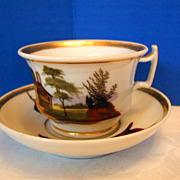 Paris Porcelain Cup & Saucer, Hand Painted Scenes, Antique 19th C