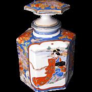 SALE PENDING Arita  Perfume Bottle Decanter,  Antique Meiji Japanese Porcelain,  Hichozan