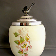 SALE Wave Crest Biscuit Barrel/Jar, Antique American Art Glass