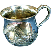 SALE Chinese Export Silver Mug or Christening Cup, Zee Sung, Dragon in Relief, Vintage