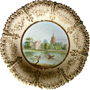"Cabinet Plate, Named View """"Fulham Church"", Pierced & Jeweled, 19th C English P"