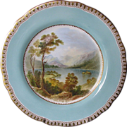 "Cabinet Plate, Named View ""Derwent Water Cumberland"", Antique 19th C  English Porcel"