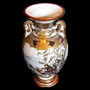 Large Kutani Vase, Satsuma Style Decoration, Samurai on Horseback, Antique Japanese Meiji Era