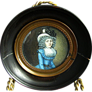 18th C Miniature Portrait, Woman Wearing Hat,  Round Wood Frame