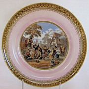 "SALE F&R Pratt Plate, Pink Ground, ""Village Wedding"", Antique 19th C English"