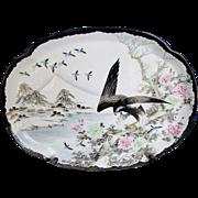 Yokohama Kutani Platter, Eagle Hunting in Snow,  Antique Japanese, Signed