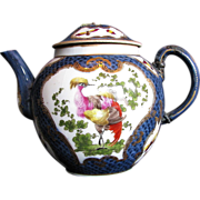 19th C Samson Teapot, in 18th C Worcester Style Disheveled Birds, Ex-Museum, AS IS