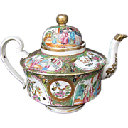Rose Mandarin Teapot,  Large, Gold in Hair,  Antique 19th C Chinese Export