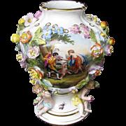 Carl Thieme Vase, Flower Encrusted, 3 Putti,  Antique 19th C Dresden  Porcelain