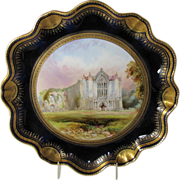 J. Birbeck Hand Painted Cabinet Plate, Bolton Abbey, Cobalt & Gold, 19th C Antique