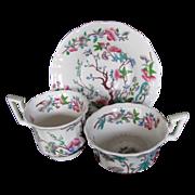 John Rose Coalport Trio, 2 Cups + 1 Saucer, Antique Chinoiserie c 1825