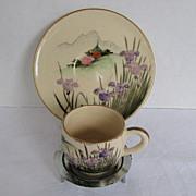 Satsuma Tiny Cup and Saucer with Iris & Pagoda, Vintage Japanese