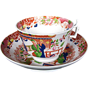 """Rathbone Cup & Saucer, """"Tea House"""", Antique 19th C English Chinoiserie"""