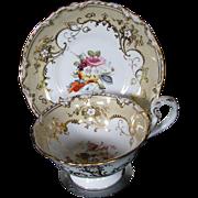 REDUCED Coalport Cup & Saucer, Handpainted Flowers, Gilding, Antique c 1840