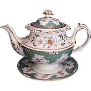 John Ridgway Porcelain Teapot & Stand, Antique English c 1830