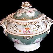 John Ridgway Porcelain Sucrier/Sugar, Antique English c 1830