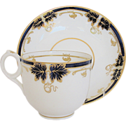 Fine Davenport Cup & Saucer, Bone China, Cobalt Blue & Gold, Antique 19th C