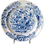 """English Chinoiserie Plate, """"Dresden Opaque China"""", Blue & White Florals, Antique 19t"""