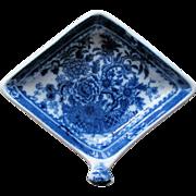 "Minton Pickle Dish, Diamond Shape with Handle, ""Basket"" Pattern,  c 1815"