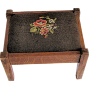 Antique Oak Foot Stool, Classic Mission Arts & Crafts