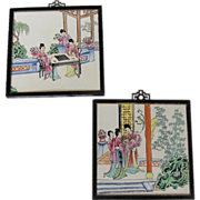 Hand Painted Porcelain Wall Plaques, Pair, Vintage Chinese Style