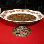 "English Chintz Pedestal Dish, Large,  ""Delhi"",  Crown Ducal, Richardson"