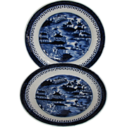 "John Rose Coalport Plates, (Pair) Dark Blue Chinoiserie, ""Curly Pagodas"", Antique c"