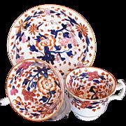 John Rose Coalport Trio: Tea Cup, Coffee Cup & Saucer, Antique 19th English Imari