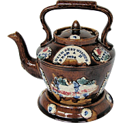 Measham Bargeware Teapot & Stand (Kettle Form), Antique English Pottery
