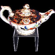 Rare C.J. Mason Bone China Teapot, English Imari,  Antique c 1835