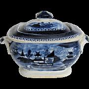"John Rose Coalport Sugar Box, Dark Blue Chinoiserie, ""Curly Pagodas"", Antique c 1820"