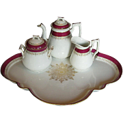 19th C Porcelain Cabaret Set: Large Tray, Teapot, Creamer & Sugar, Continental
