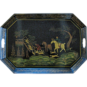 Large Toleware Tray, Unusual Hunt Scene with Hounds & Horses, Stenciled, after Wolstenholme