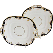 Pair of Davenport Square Serving Plates with Handles, Bone China, Cobalt Blue & Gold, Antique